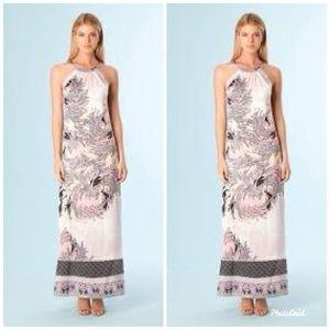ALE BOB Ivory/Natural Pink Perla Silk Maxi Dress S